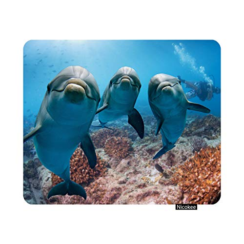 Nicokee Cute Dolphins Gaming Mouse Pad Underwater Diving Scuba Non-Slip Rubber Mouse Pad for Computers, Laptop, Office, Home Rectangle Personalized Mousepad 9.5 Inch x 7.9 Inch