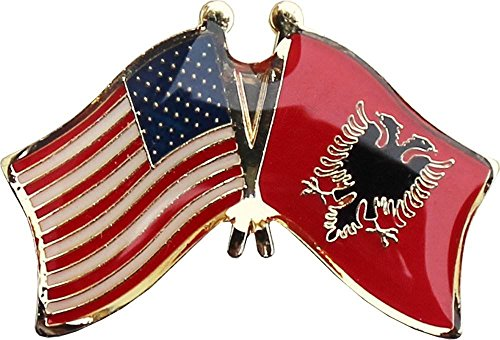ALBATROS USA American Albania Country Flag Bike Motorcycle Hat Cap Lapel Pin for Home and Parades, Official Party, All Weather Indoors Outdoors