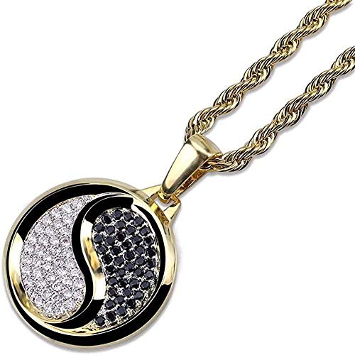 NC188 Necklace Yin Yang Tai Chi Pendant Necklace Men s Gold Round Copper Cz Crystal Ice Out Hip Hop Rapper Jewelry
