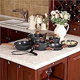 Kitchen Academy Juego de Utensilios de Cocina Antiadherente con Revestimiento de Granito, 12 Piezas, Negro, Mango de Baquelita con Efecto de Madera (Tacto Suave)