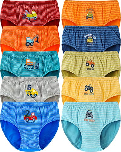 Adorel Jungen Slips Kinder Unterhosen Baumwolle 10er-Pack Bagger & Pickup 104-110 EU (Herstellergröße 60)