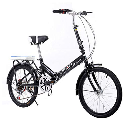 Folding Bikes Folding Bicycle Women's Bicycle 6-Speed 20-inch Wheel Set Variable Speed Bicycle Bicycle (Color : Black, Size : 155 * 111 * 25cm)