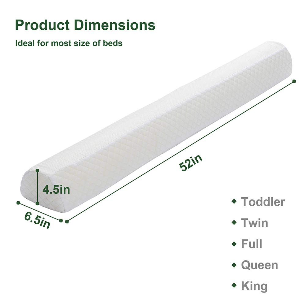 Toddler Bed Rail Bumpers [2 Pack] Safety Sleep Bedside Rail Guard for Toddlers & Kids & Baby   Memory Foam Long Pillow Pads with Non-Slip Machine Washable Cover Shinnwa