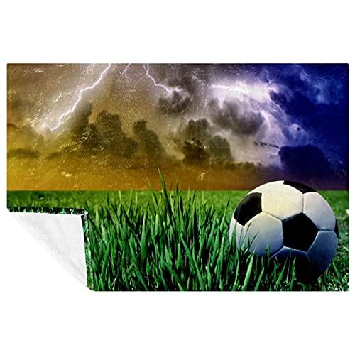 BestIdeas Manta de fútbol deportivo con impresiones suaves y cálidas para cama, sofá, picnic, camping, playa, 150 x 100 cm