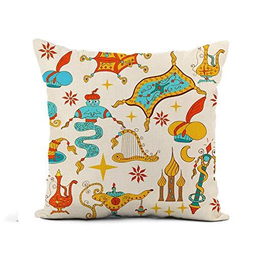 Throw Pillow Cover Fairytale Aladdin Story Jinn Genie Lámpara mágica Dorada como...