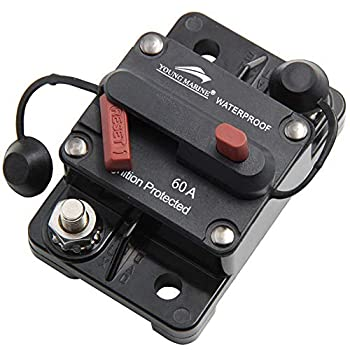 Young Marine Circuit Breaker for Boat Trolling with Manual Reset,Water Proof,12V- 48V DC  Surface Mount-60A