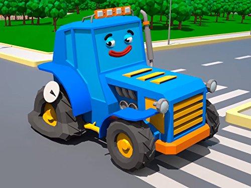 Blauer Traktor und weißer Krankenwagen