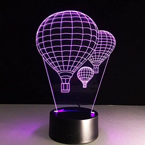 GZXCPC 3D Ballon à air Chaud stéréo lumière de Vision Panneau Acrylique Jour de Valentine Cadeau Chambre atmosphère décoration Nouveauté éclairage LED Toucher lumière Nocturne