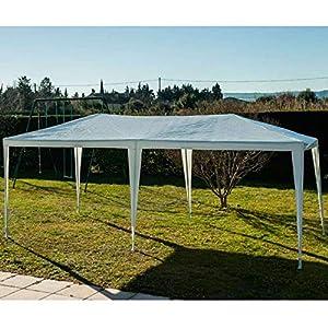 Outsunny Carpa Cenador para Exterior 6x3m Plegable en Acordeón Gazebo Pabellón para Jardín Camping Fiesta Tienda Eventos Boda con Pegatinas Impermeables + 1 Bolsa Transporte Acero Color Blanco: Amazon.es: Jardín