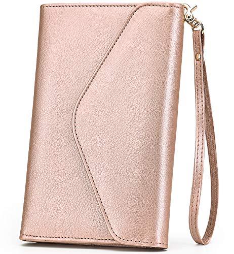Multi-purpose Travel Passport Wallet Holder RFID Blocking Tri-fold Card Case Document Organizer With Phone Pocket Removable Wristlet for women mother family Envelope Various(Rose Glod)