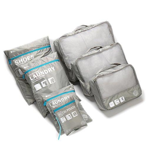 TABITORA(タビトラ) スーツケース整理用インナーバッグ 7点セット アレンジケース 手持ち付き 収納バッグ 軽量旅行 便利グッズ 小物整理 プレゼント ギフト トラベルポーチ 防水 大容量 オーガナイザー 出張整理整頓(グレー) …