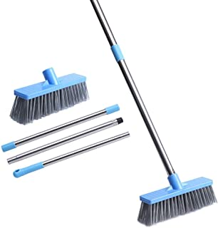 "JEBBLAS Floor Scrub Brush with Long Handle -47.3"" Bathroom Push Broom Stiff Bristle Grout Brush Tub and Tile Brush for Cle..."