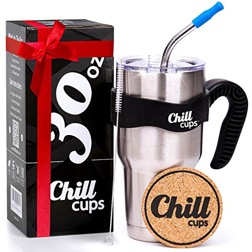 Chill Cups 30oz Insulated Stainless Steel Tumbler with Straw   Double Wall Vacuum Cup, BPA-Free Clear Lid, Metal Straw, Cleaning Brush, Cork Coaster   Reusable Travel Mug for Coffee, Water, Smoothie