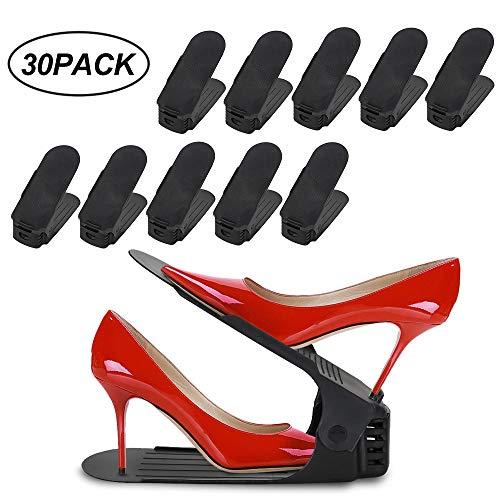 Hengda 30 Stück Schuh Slots, Einstellbare Schuhregale, Schuhstapler/Schuhhalter Set, 3 höhenverstellbar, Platzsparend, rutschfest,Kunststoff-schwarz