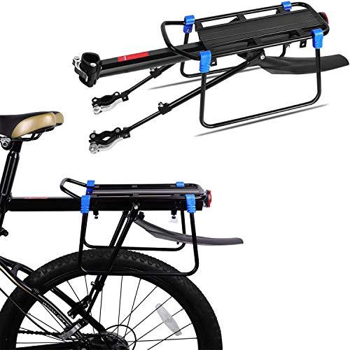 Mountainbike Gepäckträger, WeyTy Fahrrad Gepäckträger Einstellbare Aluminium-Legierung Fahrradzubehör Reitstock mit Reflektor Schutzblech und Montierung für Mountainbike Rennrad Trägt bis zu 110 Pfund