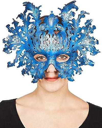 Andracor Handgefertigte Eisk gin Maske aus Leder - Oberon blau
