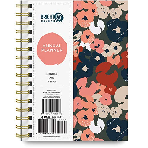 2021 Artsy Floral Annual Planner by Bright Day, Yearly Monthly Weekly...