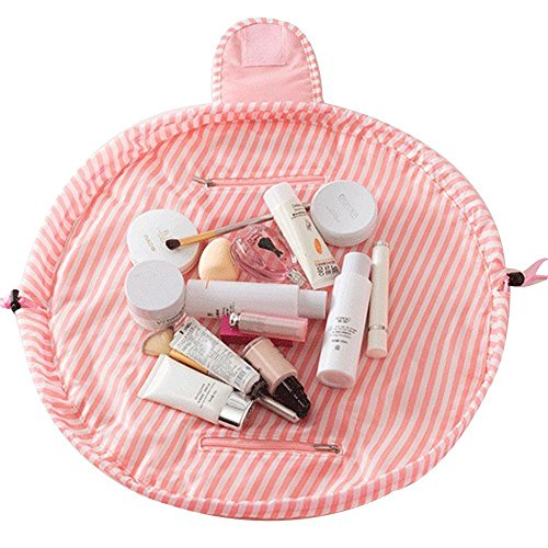 Arpoador Sac cosmétique portable de haute qualité pliable pour cosmétiques (bande rose)