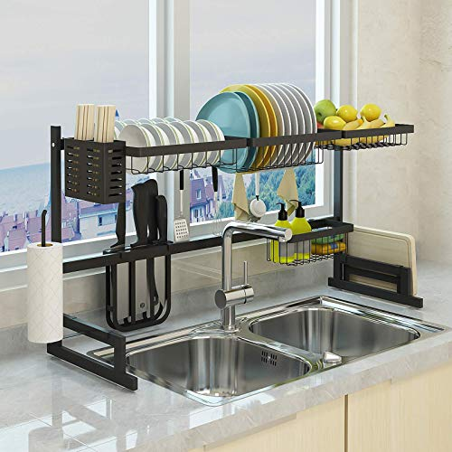 Over the Sink Dish Drying Rack, Double Cutlery Holder...