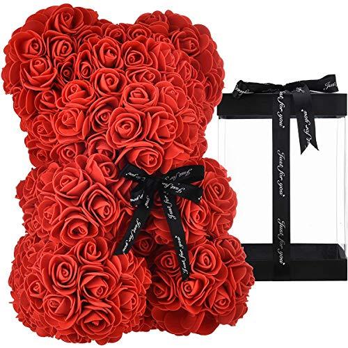 ZHKXBG Oso de Flor Rosa, Regalo para el día de la Madre, día de San Valentín, Aniversario y duchas Nupciales, Caja de Regalo Transparente incluida,A