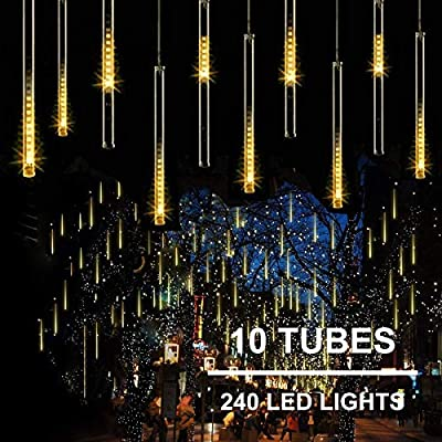 11.8 inch 10 Tubes 240 LED Meteor Shower Raindrop Lights with Timer Function Cascading Lights LED Icicle Lights Falling Raindrop Lights for Holiday Party Wedding Christmas Tree Decoration (Warm White)