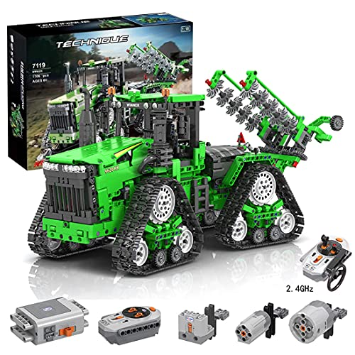 Myste Technik Traktor Ferngesteuert mit 3 Motoren & Allrad-Crawler Traktor für John Deere 9620 RX, 1706 Teile 2.4G RC Traktor Raupentraktor Fahrzeug, Klemmbausteine Kompatibel mit Lego Technik