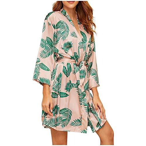 Ylzsx Kimono Damen Sexy Dessous Morgenmantel Robe Blume Lingerie Negligees Kurz Reizwäsche Kleid Strandkleid Trompetenärmel Bikini Cover up Cardigan