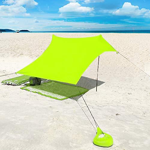 XISHUAI Plage de Tente avec Sac de Sable Ancres - 100% Lycra UPF50+ Protection Anti UV Etanche Abris - 210 cm x 210 cm Le Camping Randonnée Pêche