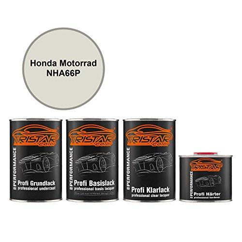 TRISTARcolor Motorradlack Set Dose spritzfertig für Honda Motorrad NHA66P Pearl Sunbeam White Metallic Grundlack + Basislack + 2K Klarlack 3,5L