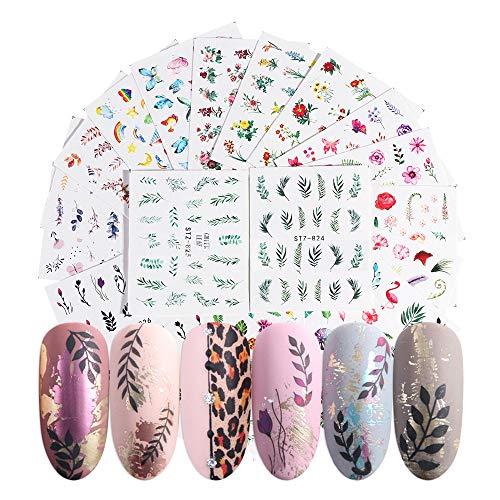 Gobesty Bloem Nagel Stickers, 68 Vel 3D Zelfklevende Nagel Art Stickers Flamingo Cactus Fruit Ocean Leaves Decals Water Transfer Decoratie voor Vrouwen Meisjes Kinderen