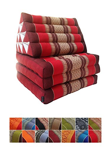 Collumino, materasso da meditazione tradizionale thailandese Kapok a 3 strati, con cuscino reclinabile triangolare in stile orientale, per yoga, massaggi o relax rosso, marrone.