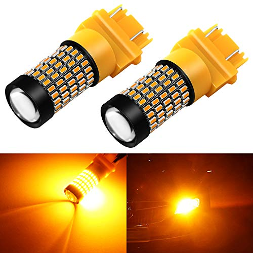 Phinlion 4157 3157 LED Turn Signal Light Bulbs 2800 Lumens Super Bright 3014 103-SMD 3057 3457 4057 3156 LED Bulb for Turn Signal Blinker Lights, Amber Yellow