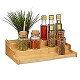 Relaxdays Porta Spezie in bambù, 3 Livelli, Allungabile, Design Naturale, Organizer Cucina, HLP 9x38x22cm, 1 pz
