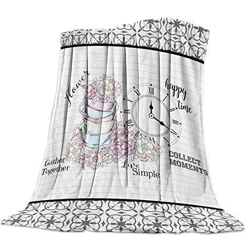 GGYDKA 3D Manta del Tiro Reloj Sobrecama Cobijas De Invierno Grandes Ropa De Cama Infantil Mantas 150Cmx180Cm