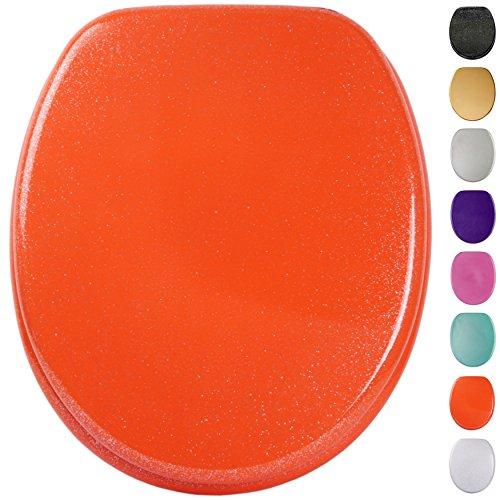 Glitzer WC Sitz mit Absenkautomatik, viele schöne Glitzer WC Sitze zur Auswahl, hochwertige und stabile Qualität aus Holz (Glitzer Orange)