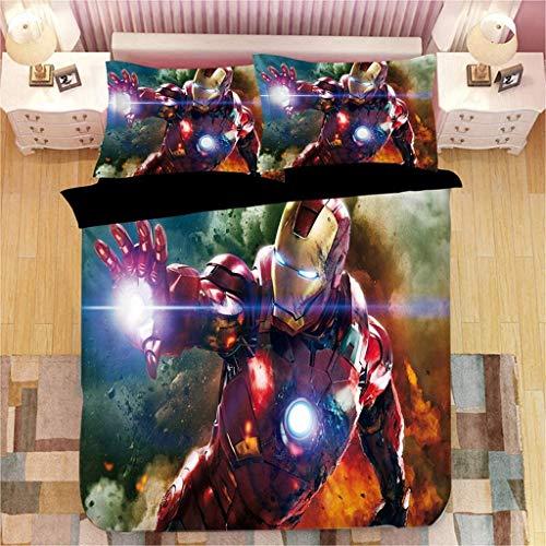 SSLLC Iron Man - Juego de cama de 2/3 piezas – Funda nórdica de Los Vengadores con diseño 3D – Funda nórdica para niños con cremallera – (A08,135 x 200 cm)