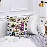 Lilatomer Funda de algodón 45 x 45 cm Cámaras fotográficas anticuadas Vintage Hobby Studio Diseño gráfico temático Sofá Throw Cojín Almohada Caso de la Cubierta para Sala de Estar 45x45cm