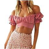 Damen Tops Mode Laterne Kurzarm V-Ausschnitt Einfarbige Kurze Oberteile Bluse