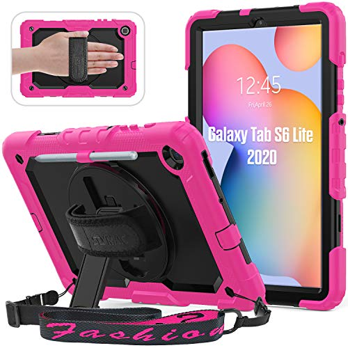 Samsung Galaxy Tab S6 Lite Case 2020, SEYMAC Heavy Duty Rugged Case with Pencil Holder [360 Rotating Hand Strap/Stand] Shoulder Strap [Screen Protector] for 2020 Galaxy S6 Lite 10.4 Inch, Pink