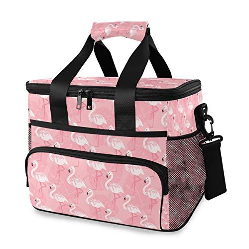 Chic Houses Lindo Flamingo Animal Picnic Enfriador Bolsa de Almuerzo de Fondo Rojo Reutilizable Aislamiento Caja de Almuerzo Portátil Nevera Bolsa Para Picnic Viajes Camping 2030102