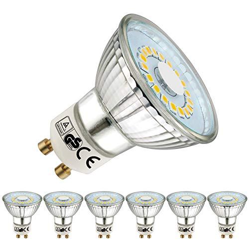 EACLL GU10 LED Neutralweiß 5W Leuchtmittel 4000K 450 Lumen Glühbirnen perfekter Ersetzen 50W Halogen Lampen. Lichtwinkel 120 Grad Neutralweiss Licht Tageslichtweiß Birnen, 6 Pack