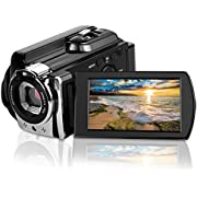"""CamKing 6053 Portable Digital Video Camera Max 24.0 MP 1080P Camcorder HD Support Wi-Fi and IR 3.0"""" Touch Screen Camera Recorder, Black"""