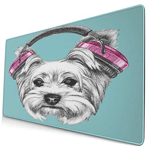 HUAYEXI Alfombrilla Gaming,Perro con Auriculares Escuchando música Yorkshire Terrier Caricatura Dibujada a Mano,con Base de Goma Antideslizante,750×400×3mm