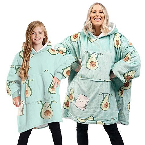 ZHEBEI Manta térmica con capucha para TV y cachemir al aire libre a prueba de frío y cálido camisón estampado de aguacate