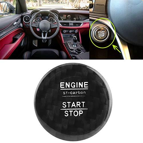 Cubierta de botón de arranque de fibra de carbono sin llave para modificación de vehículos de coche (negro)