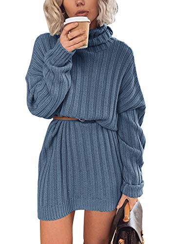 Yidarton Pulloverkleid Damen Winter Pulli Rollkragen Casual Lose Langarm Strickkleider Minikleid Sweater Kleid (Blau, Small)