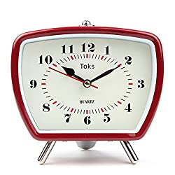 Lily's Home Vintage Retro Inspired Analog Alarm Clock, Looks Like Miniature Television Set with Silver Legs, Small Stylish Clock Adds Character to Any Bedroom, Red (5 1/2 Tall x 5 3/4 Wide)