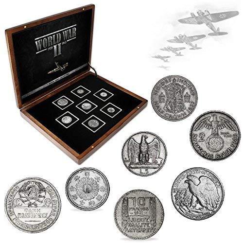 IMPACTO COLECCIONABLES Monedas Antiguas - 7 Monedas en Plata, Colección Segunda Guerra Mundial 1939-1945: Amazon.es: Juguetes y juegos
