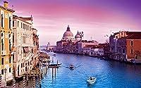 Queenie® ステンドグラスアート木製ジグソーパズル、1000ピースパズル、大運河ヴェネツィアイタリア、サンセット、フィニッシュサイズ30''x20''、木製プレミアム品質