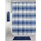 bright navy blue stripe shower curtain